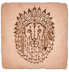 Lion in war bonnet hand drawn animal vector