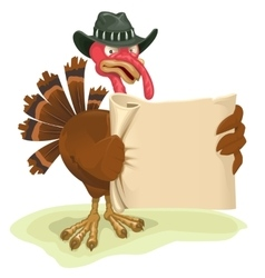 Turkey bird holding sheet of parchment vector
