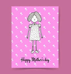 Sketch Mothers day with cute girl vector image
