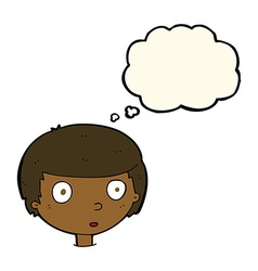 cartoon curious boy with thought bubble vector image