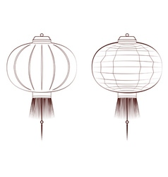 Line art chinese lantern vector