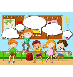 Children playing in the classroom vector