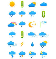 Color weather forecast icons set vector