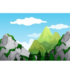 Nature scene with mountains at daytime vector