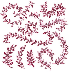 Set wreaths and laurel hand painted vinous vector