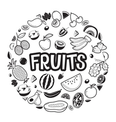Fruits objects icons letters on circle frame vector
