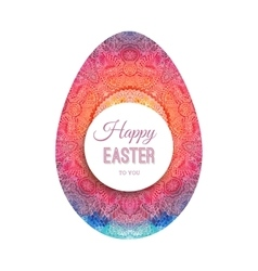 Happy easter greeting card with watercolor egg vector