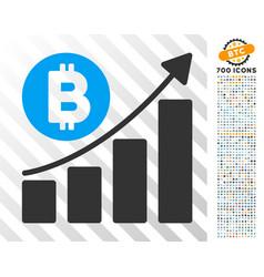 bitcoin bar chart trend flat icon with bonus vector image vector image