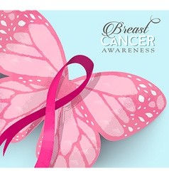 Breast cancer pink butterfly ribbon vector