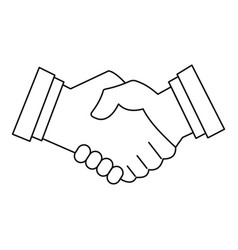 business handshake icon outline style vector image