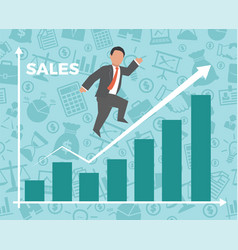 Business man jump over growth graph vector