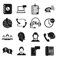 Call center symbols icons set simple style vector