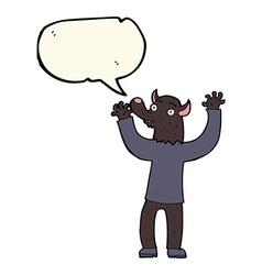 Cartoon happy werewolf man with speech bubble vector