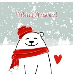 Christmas card with white santa bear vector image vector image