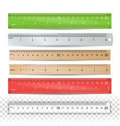color school ruler plastic wooden metal vector image
