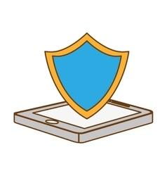 Color shield smartphone hosting icon vector