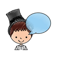 Cute husband with speech bubble avatar character vector