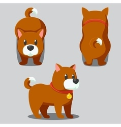 Cute round dog stylized pet funny cartoon vector
