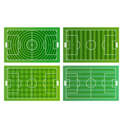 Different green football fields infographic vector