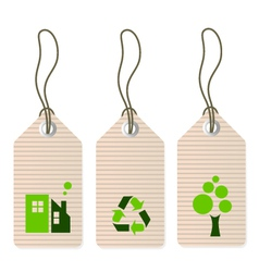 Eco tags set isolated on white - green vector image vector image