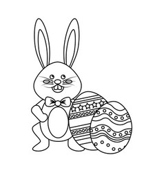 Figure rabbit easter with bow tie and decorated vector