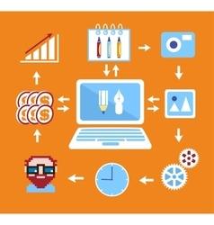 Freelance infographics flat vector