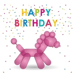 Happy birthday pink balloon horse shape confetti vector