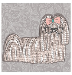 Hipster shih tzu with glasses and bowtie vector