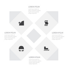Icon activities set of mountaineer goggles slide vector