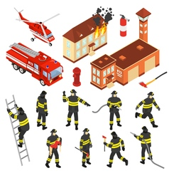 Isometric Fire Department Icon Set vector image