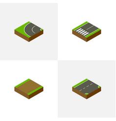 Isometric way set of footpath down footpassenger vector