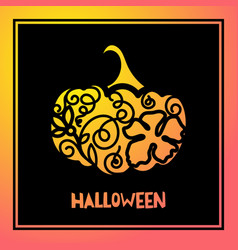 laser cutting template pumpkin for halloween vector image vector image