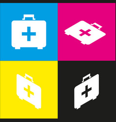 Medical first aid box sign white icon vector