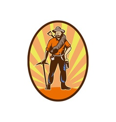 Miner prospector or gold digger with pick axe and vector image vector image