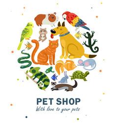 pet shop round composition vector image