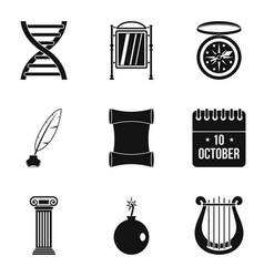 Reflection icons set simple style vector