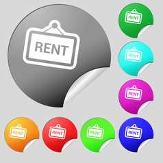 Rent icon sign Set of eight multi colored round vector image vector image