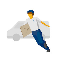 Running delivery man holding big postal envelope vector