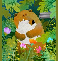 Save animals bear family with cub and shotgun vector