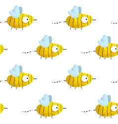 Seamless pattern with cute hand-drawn bees vector image
