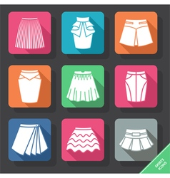 Set with skirts icons vector