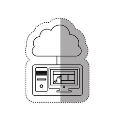 Sticker contour tech computer with cloud storage vector