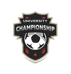 university championship soccer logo vector image