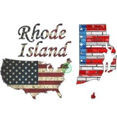 Usa state of rhode island on a brick wall vector