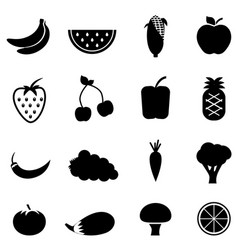 vegetable and fruit icons vector image