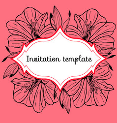 Vintage card with amaryllis flower vector