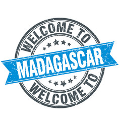 Welcome to madagascar blue round vintage stamp vector