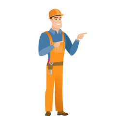 young caucasian builder pointing to the side vector image vector image