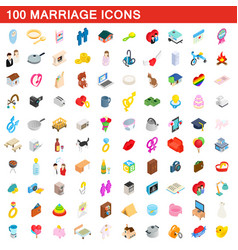 100 marriage icons set isometric 3d style vector