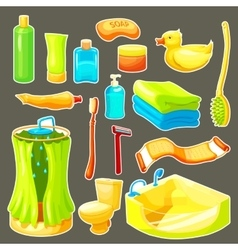 Cartoon Bathroom Icon Set vector image